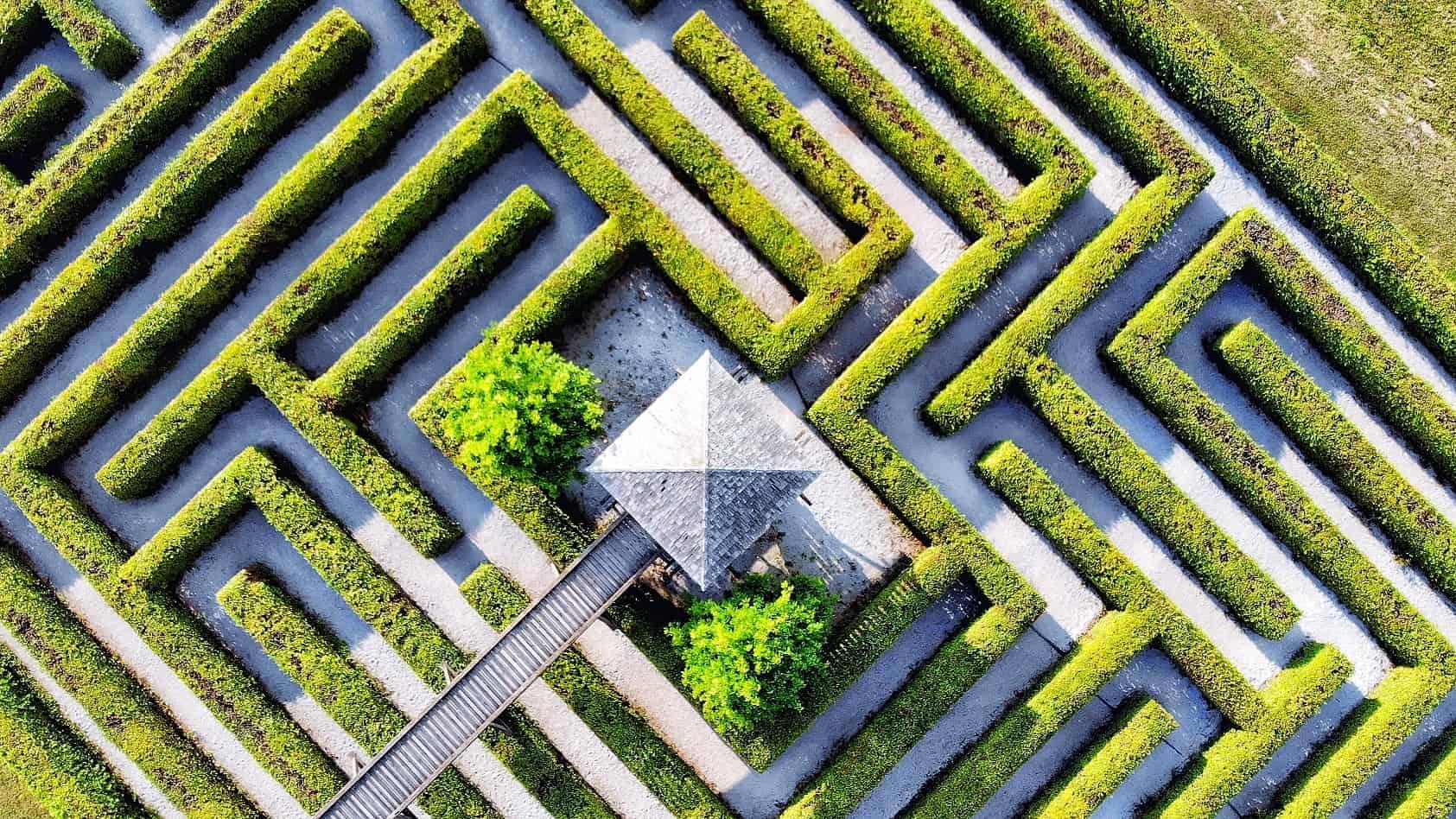 Gartenlabyrinth Rosegg in Österreich von oben