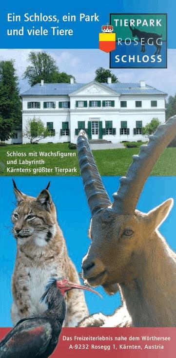 Plakat Schloss mit Wachsfiguren und Tieren Wildpark