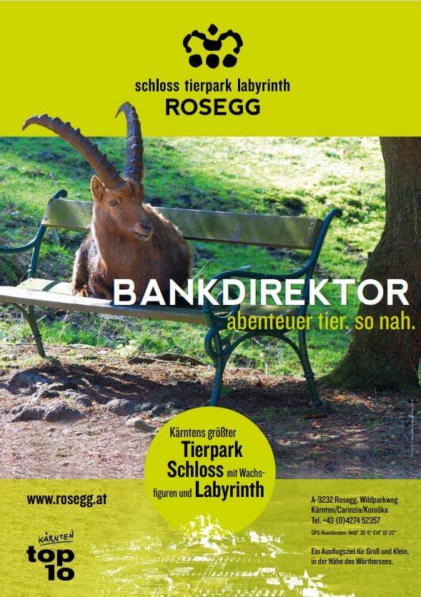 Plakat mit Steinbock auf Bank Rosegg