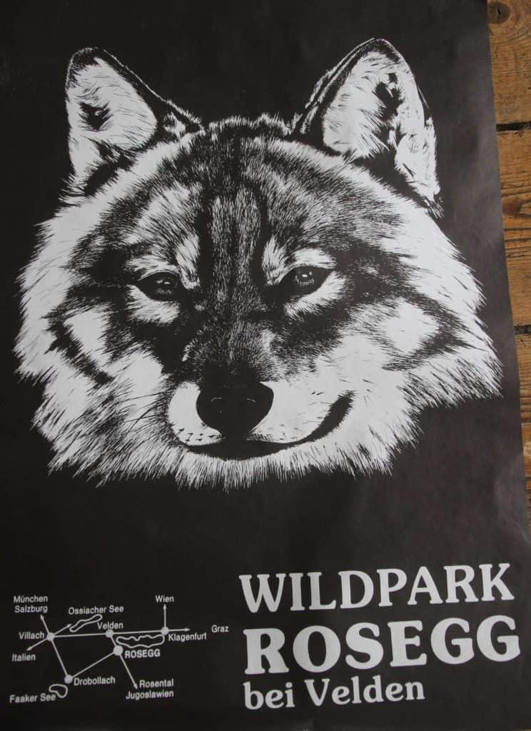 Tierpark Plakat Wildpark Rosegg bei Velden am Wörthersee Wolf