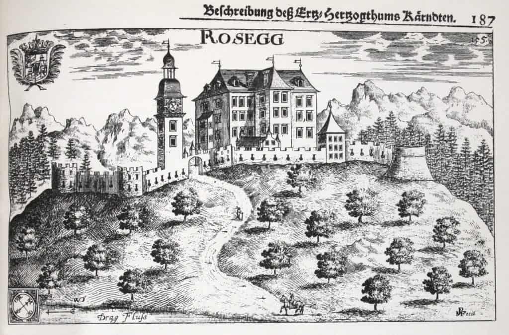 Burg Ruine Rosegg alte Ansicht - Zeitgeschichte